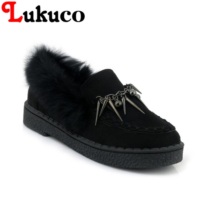 2018 Lukuco leisure winter flats plus size 41 42 43 44 45 women snow boots rivets design shoes short plush inside free shipping