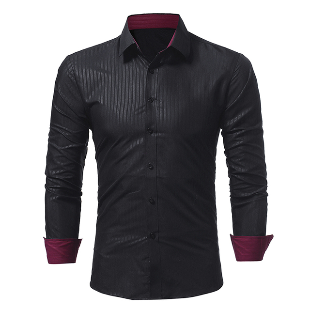 Brand 2017 Fashion Male Shirt Long-Sleeves Tops Classic Dark Stripes Embossed Mens Dress Shirts Slim Men Shirt 3XL