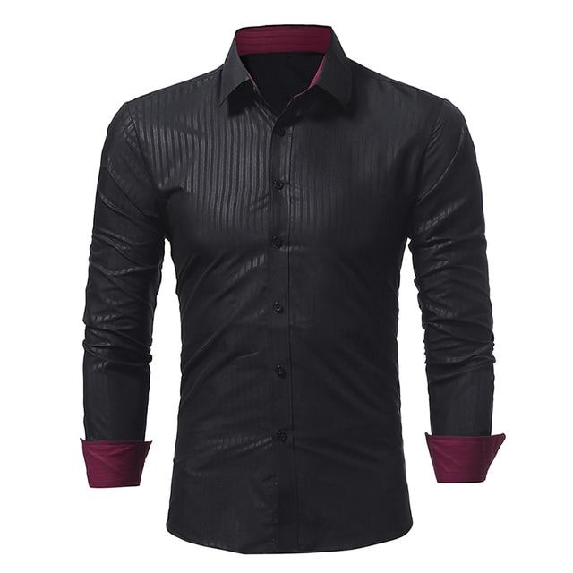 Brand 2017 Fashion Male Shirt Long-Sleeves Tops Classic Dark Stripes Embossed Mens Dress Shirts Slim Men Shirt 3XL