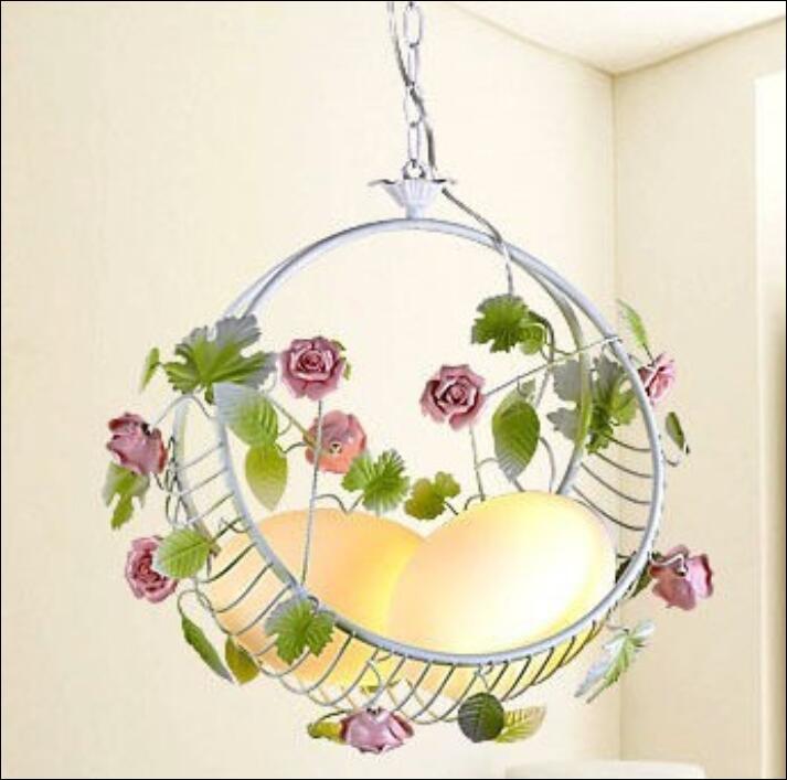 Nouveau moderne Dragon oeufs rose princesse pendentif lumière chambre lampes créatif fleur panier pendentif lumière ZL382