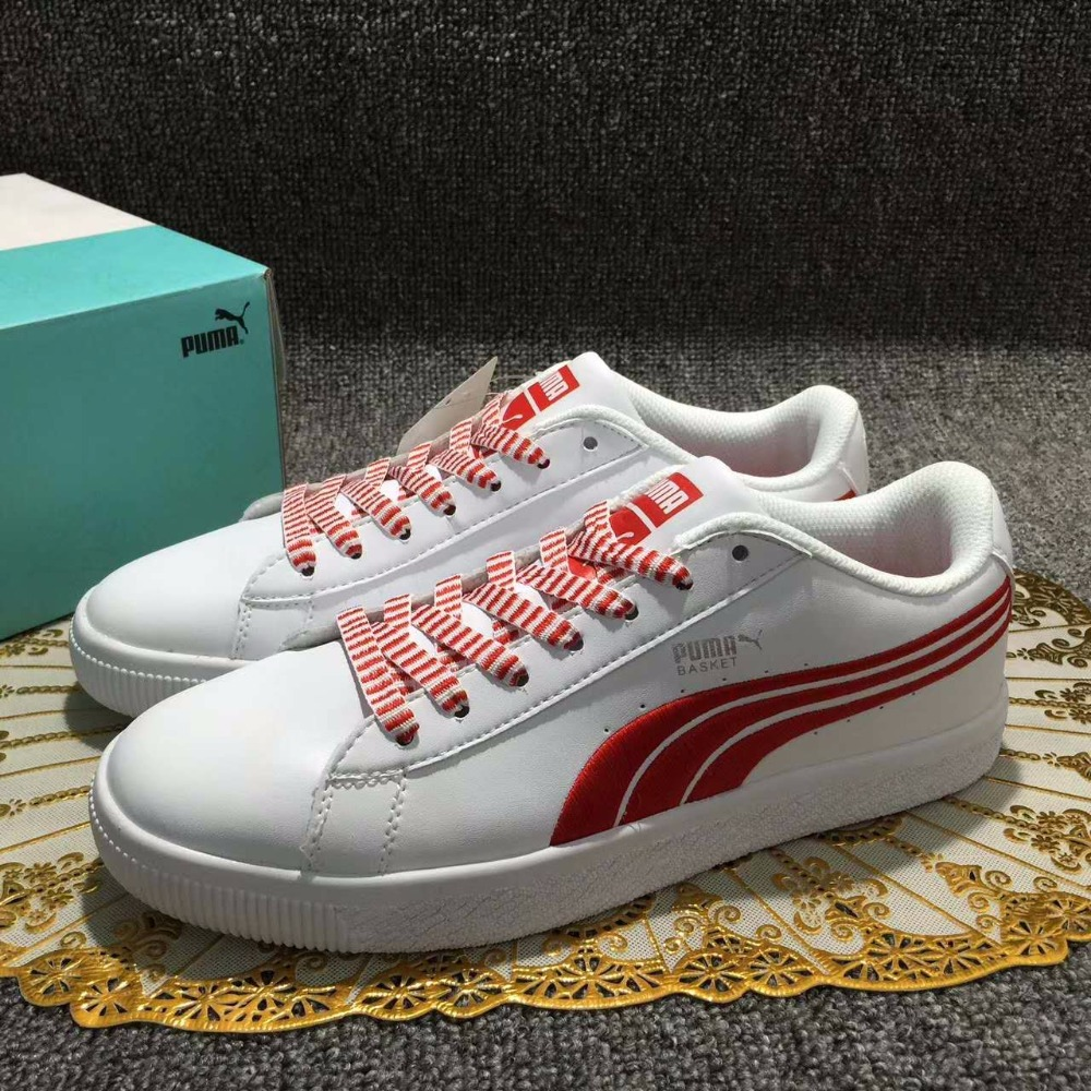 2017 The new Puma Suede campus series of badminton shoes the new puma womens shoes classic high classic star high tongue series white leather laser badminton shoes
