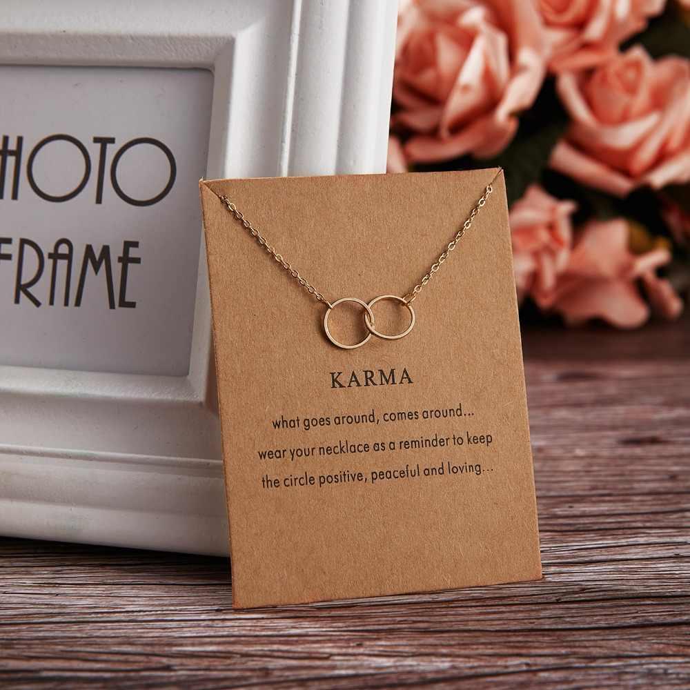 Rinhoo nouveau or argent couleur Karma Double cercle alliage tour de cou pendentif court collier femmes dame bijoux cadeau