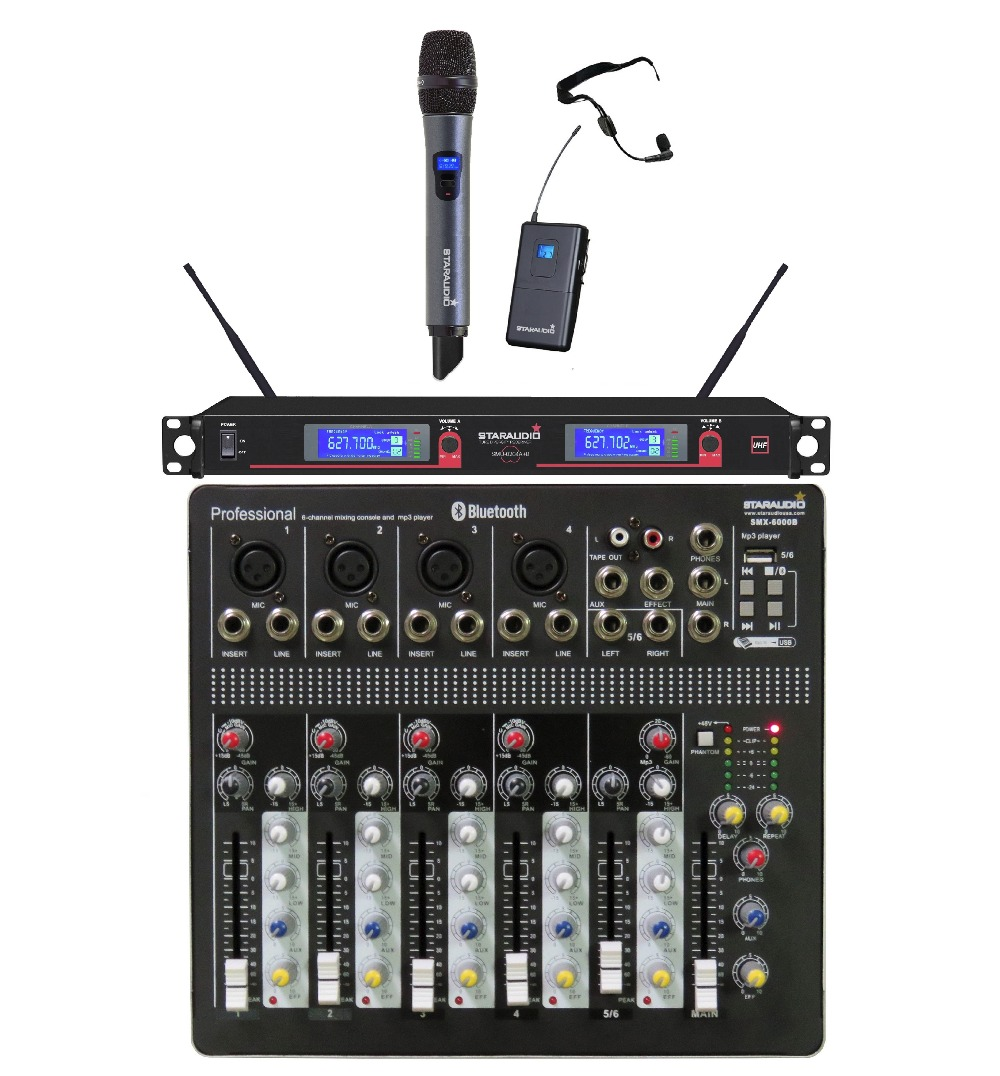 STARAUDIO Pro DJ Stage Club 6 Channel Mixer USB Bluetooth Mixing Console and 2CH UHF Wireless Microphone System SMX-6000B