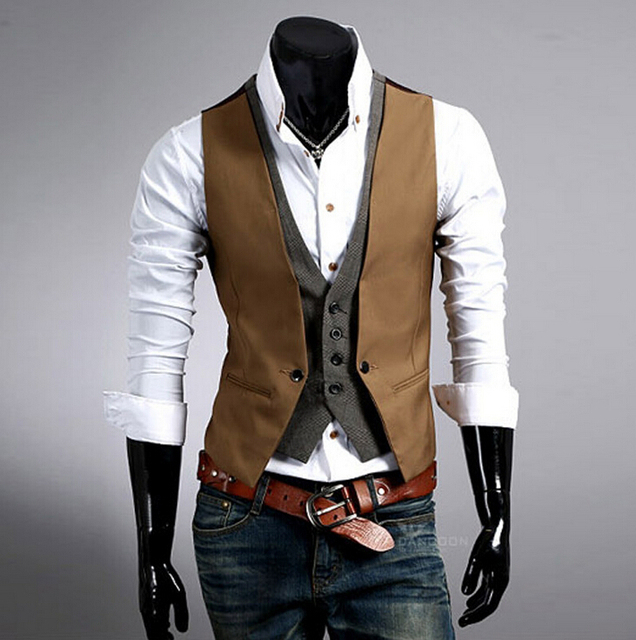 Fashion British Style Men Sleeveless Patchwork Jacket Waistcoat Blazer Vest Men Slim Cotton Single Breasted Vintage Suit Vest