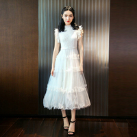 Ladies White Lace Patchwork Mesh Ball Gown Dress Summer Runway Women Sexy Sleeveless Ruffles Tunic Elegant Party Long Dresses