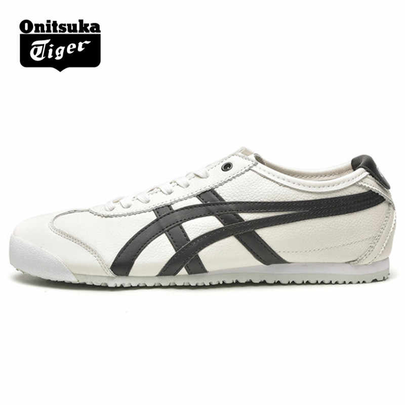 newest cf6ef 6a416 ONITSUKA TIGER MEXICO 66 White and black Men Women Shoes Leather Rubber  Hard-Wearing Travel Street Shoes Sneakers Badminton Shoe