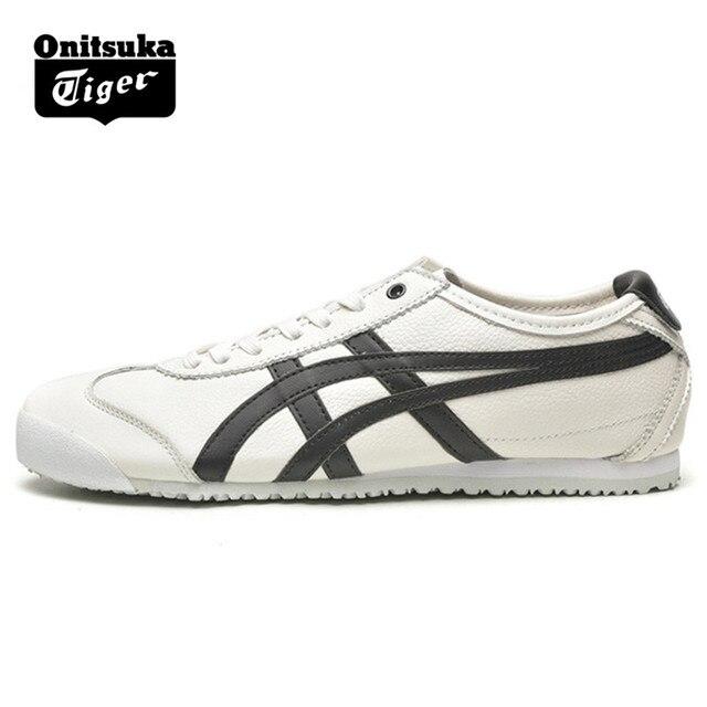 ONITSUKA TIGER México 66 Blanco y Negro hombres mujeres zapatos de goma De  cuero resistente viaje 2f47a34be9c