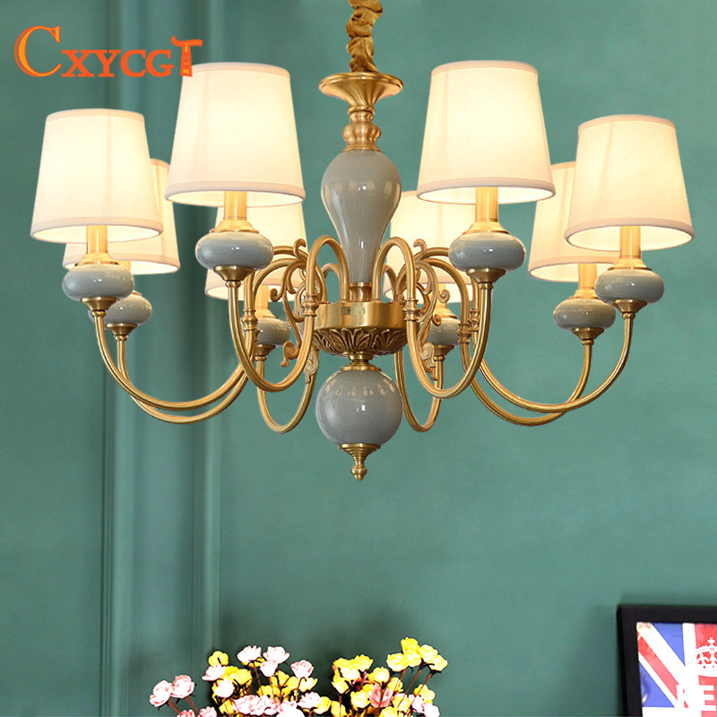 American LED Copper Chandeliers Mediterranean Garden Living Room Bedroom Dining Room Lamp European Atmospheric ceramic lamps northern american mediterranean crystal droplight sitting room dining room bedroom villa hotel lobby engineering lamps