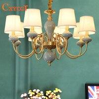 American LED Copper Chandeliers Mediterranean Garden Living Room Bedroom Dining Room Lamp European Atmospheric ceramic lamps