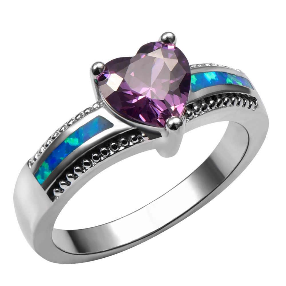 แสงสีขาวสีฟ้าคริสตัลเพทายโกเมนM Organiteสีดำนิลโอปอลแหวนแหวนเงิน925ขนาด6 7 8 9 10
