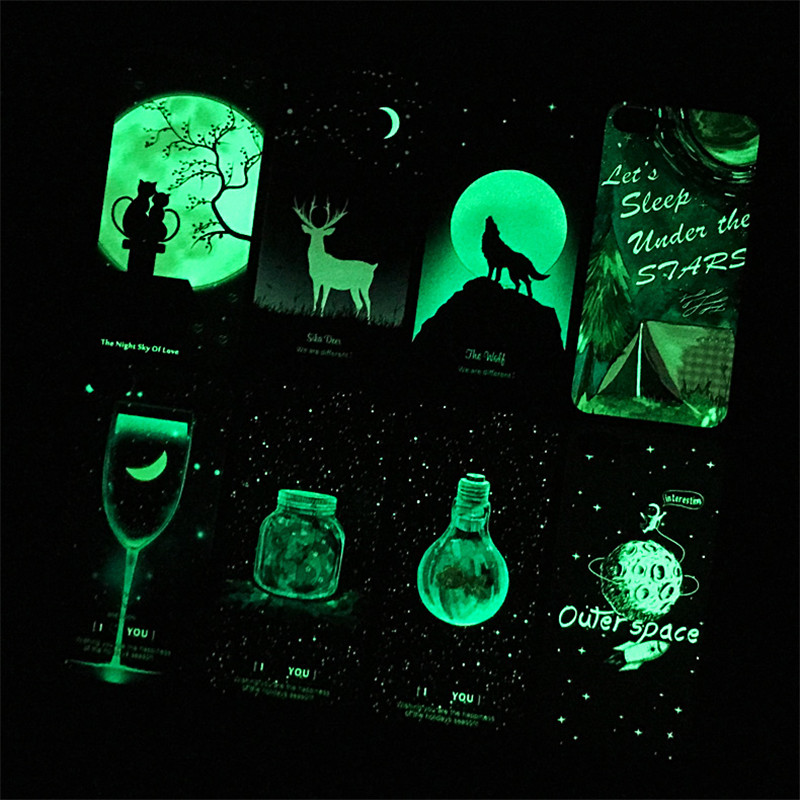 3D Luminous Case for iphone 6 6S 7 8 X Plus TPU Relief Back Cover Light Wolf Moon Bulk Glowing in Night Protective Shell