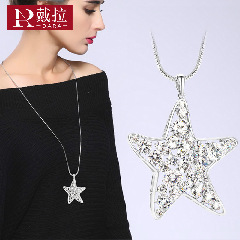 DARA New Fashion Women Elegant Noble Long Necklace Full Crystal Pendant Starfish Necklace Swearter Chain Jewelry Accessories