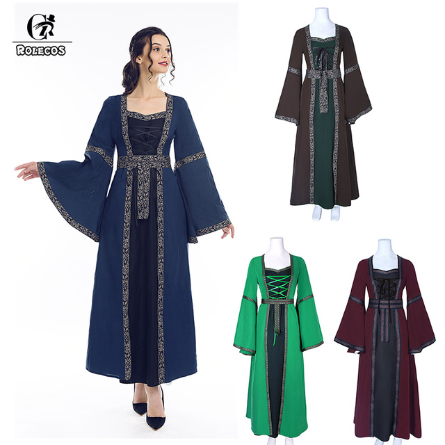 ROLECOS Vitoriana Vestido Lolita Mulheres Vestido Longo Festa Medieval Renascentista Traje Retro Gothic Lolita Vestido Vintage para Mulheres