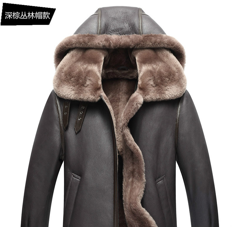 AYUNSUE Genuine Leather Jacket Men Winter Australian Natural Fur Real Sheepskin Coat for Men Lamb Fur Flight Men's Jackets KJ853
