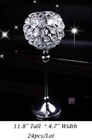 24Pcs Lot H30cm W12cm Fedex Ems Free Ship Ball Shape Crystal Votive Candle Holder Wedding Centerpiece