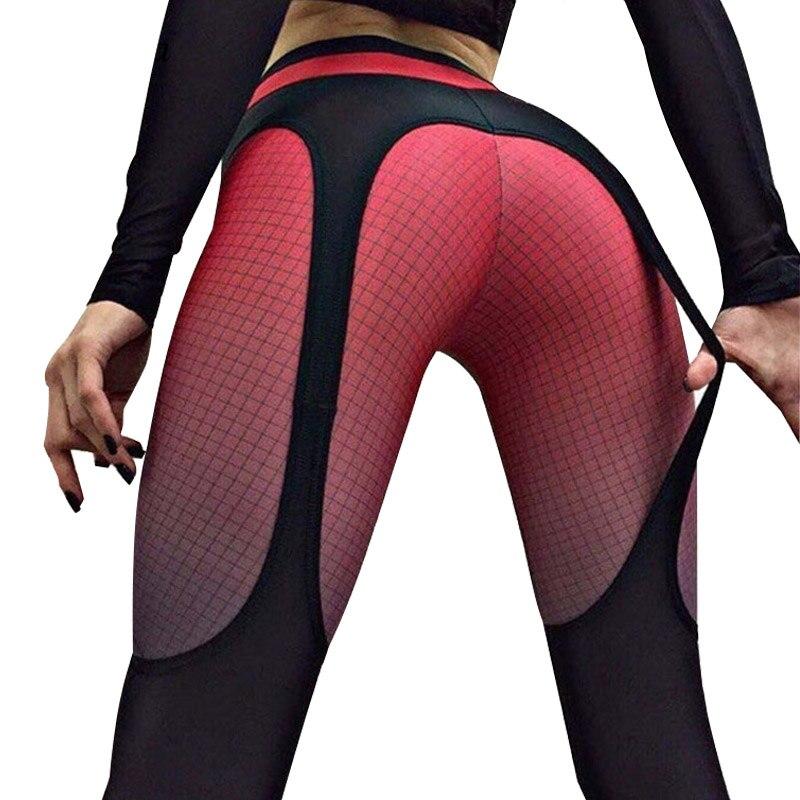 Hayoha 2018 Patchwork leggings women sportswear plaid gradient color Elastic pants bodybuilding fitness leggins
