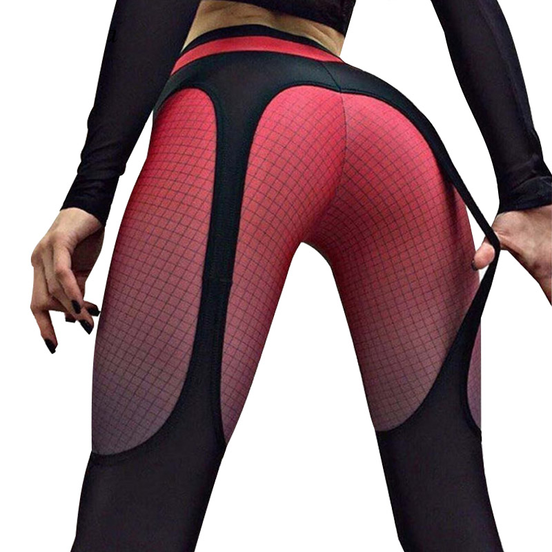 Hayoha 2018 Patchwork leggings women sportswear plaid gradient color Elastic pants bodybuilding fitness leggins