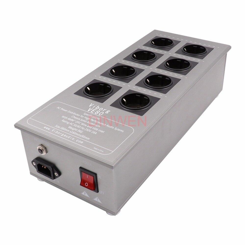 8 canais Schuko UE Tomada Distribuidor Filtro de Energia AC de Alimentação de Cobre Puro Alumínio Completa Chassis 50 60Hz 250 V 16A Hifi de Áudio DIY
