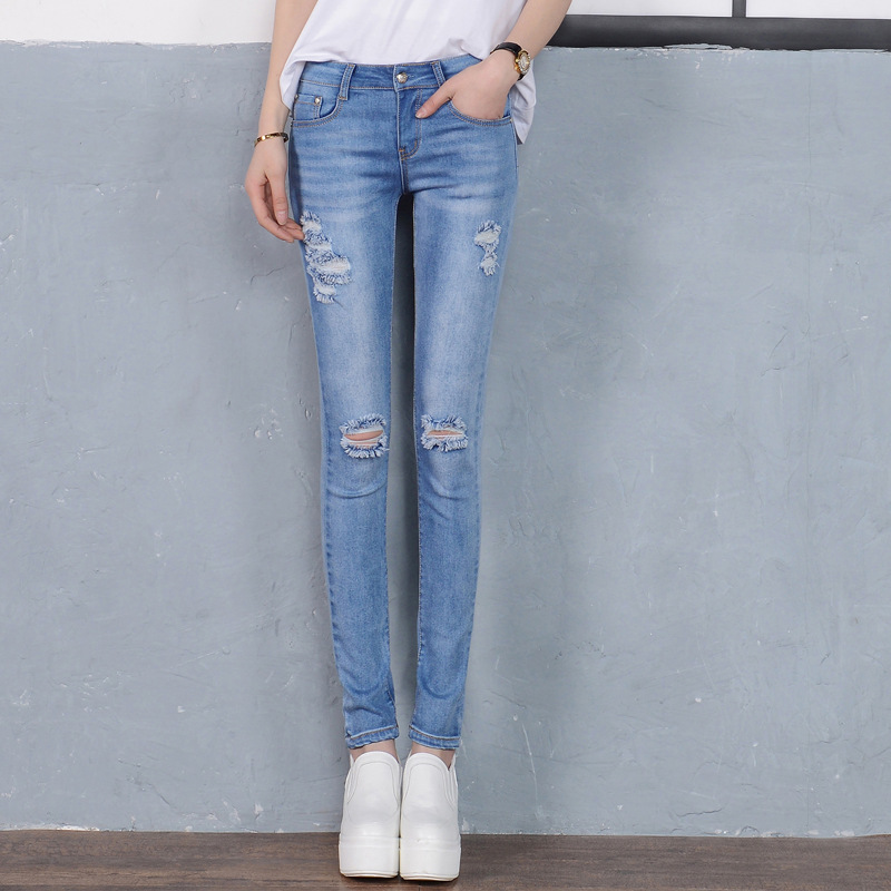 2017 New Fashion Women Mid Waist Skinny Denim Jeans Slim Ripped Hole Pencil Jeans Hole Pants Female Casual Trousers 8 Style C411 2017 fashion women jeans retro style floral embroidery ripped hole denim pencil pants vintage mid waist ankle length trousers