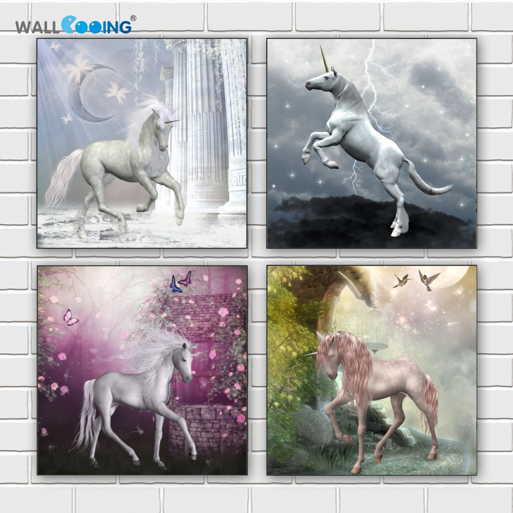 4 panels colorful horse canvas painting unicorn art modular pictures christmas decorations home painting poster wall unicorn - Unicorn Christmas Decorations