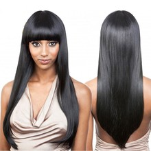 7A Brazilian Full Lace Wigs With Full Bangs Lace Front Human Hair Wigs Long Straight Glueless Full Lace Wigs For Black Woman