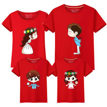 1 Piece Family Matching Outfits Mother Father Son Daughter Cartoon Bride Bridegroom Print Women Men Children Boy Girl T shirt(China)