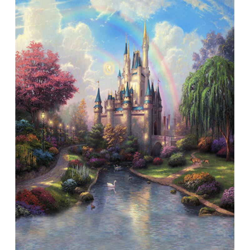 2017 vinyl cloth wonderland castle rainbow backdrop photography background for princess children