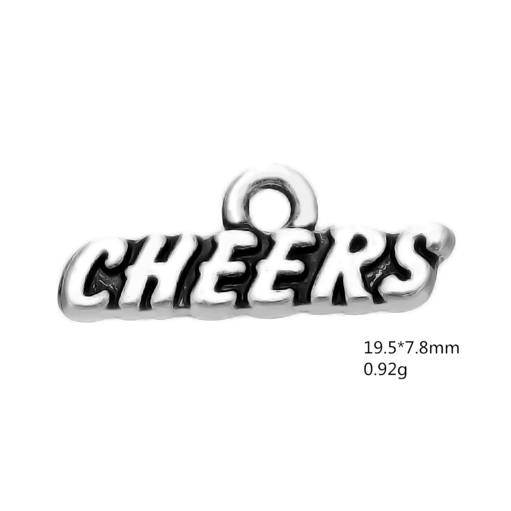 My shape 60pcs cheers word charms for jewelry making