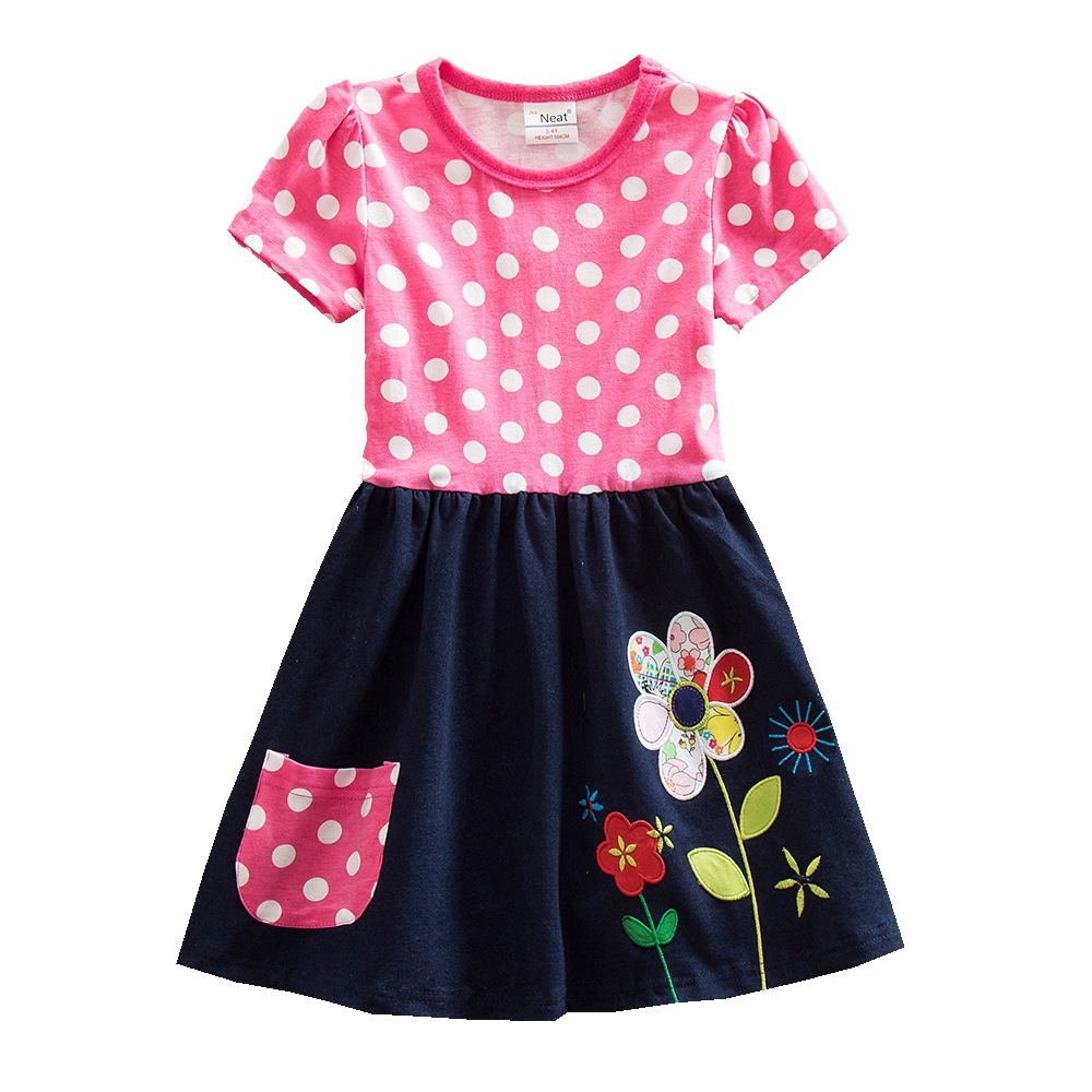 BABY Girl Clothes Neat Nova Short Sleeve Girls Dress Bow Kids Pretty Children Clothing  Lace Tutu Party Princess Dresses SH5801