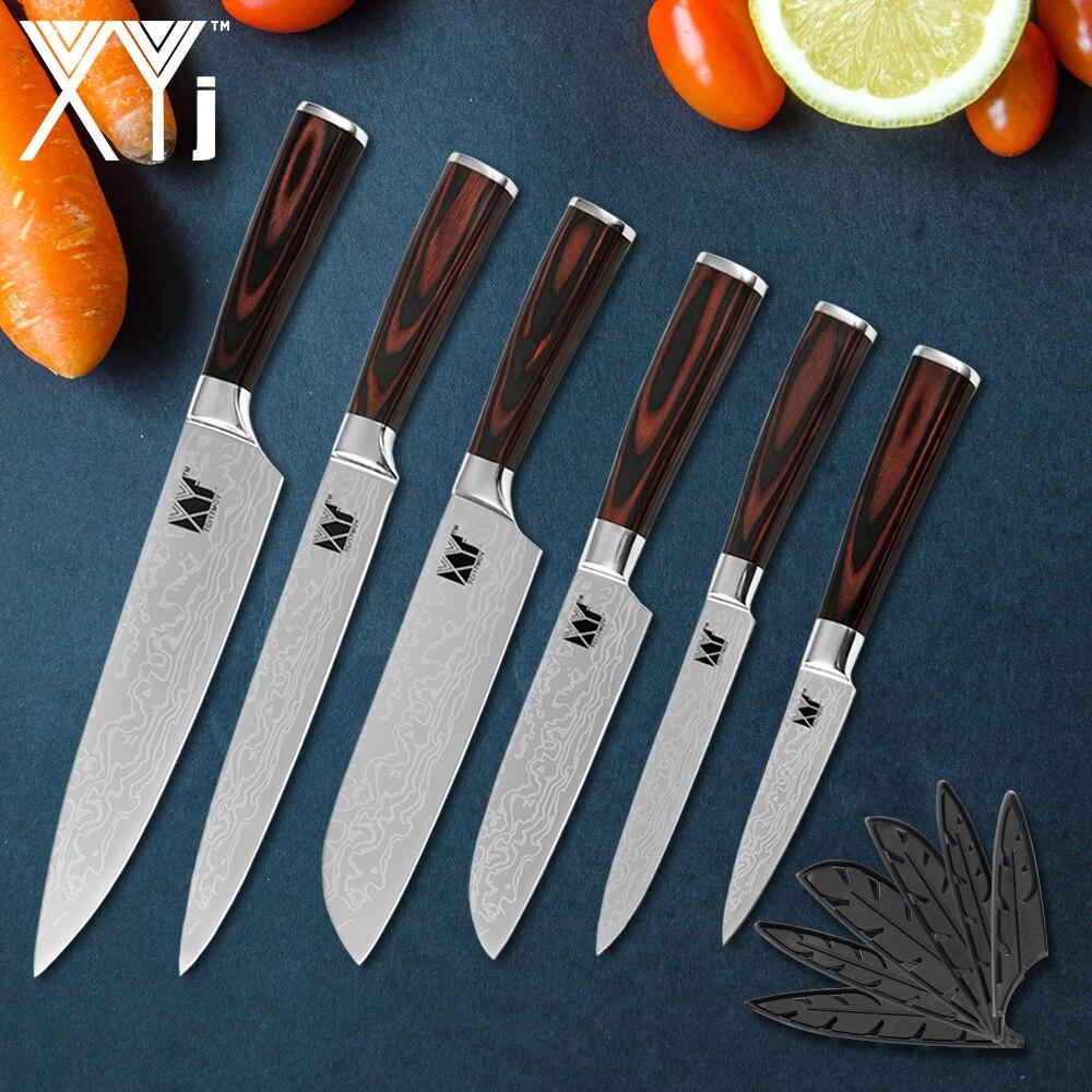 XYj couteau de cuisine outils 6 pièces Set couteaux inox couteau couperet japonais hachoir à légumes couteaux accessoires de cuisine