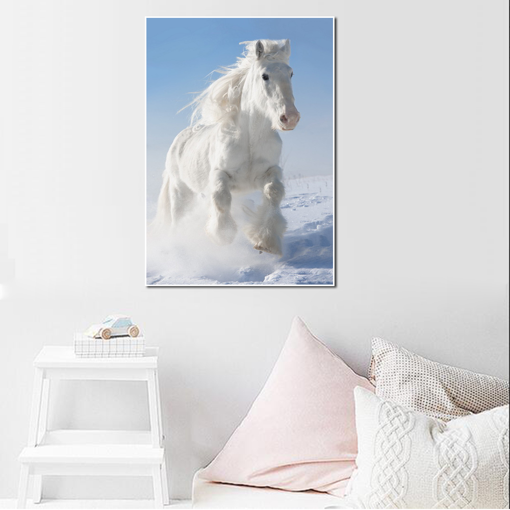 Unframed Canvas Animal Painting White Horse Running Snow Picture Prints Wall Picture For Living Room Wall Art Decoration