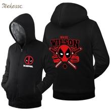 Deadpool 2018 Spring Winter Fashion Warm Fleece Dead Pool Men Hoodie Hip Hop Streetwear Hoodies Zip Up Jackets Sweatshirts Coat