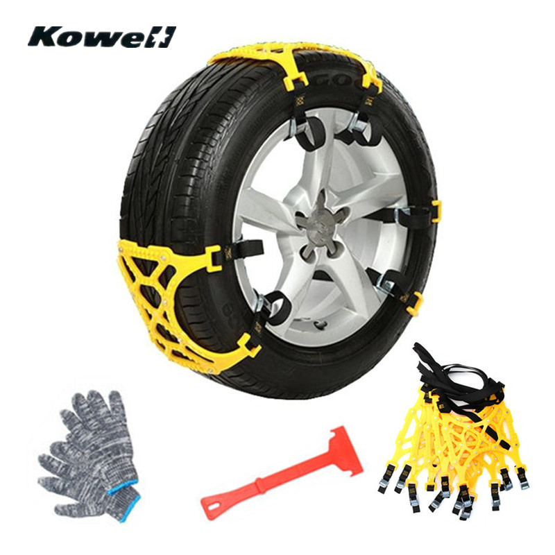 где купить KOWELL 6PCS Auto Anti-slip Tire Snow Chains Beef Tendon VAN Wheel Tyre Thickened Anti-skid TPU Chains Set Winter Car Accessories по лучшей цене