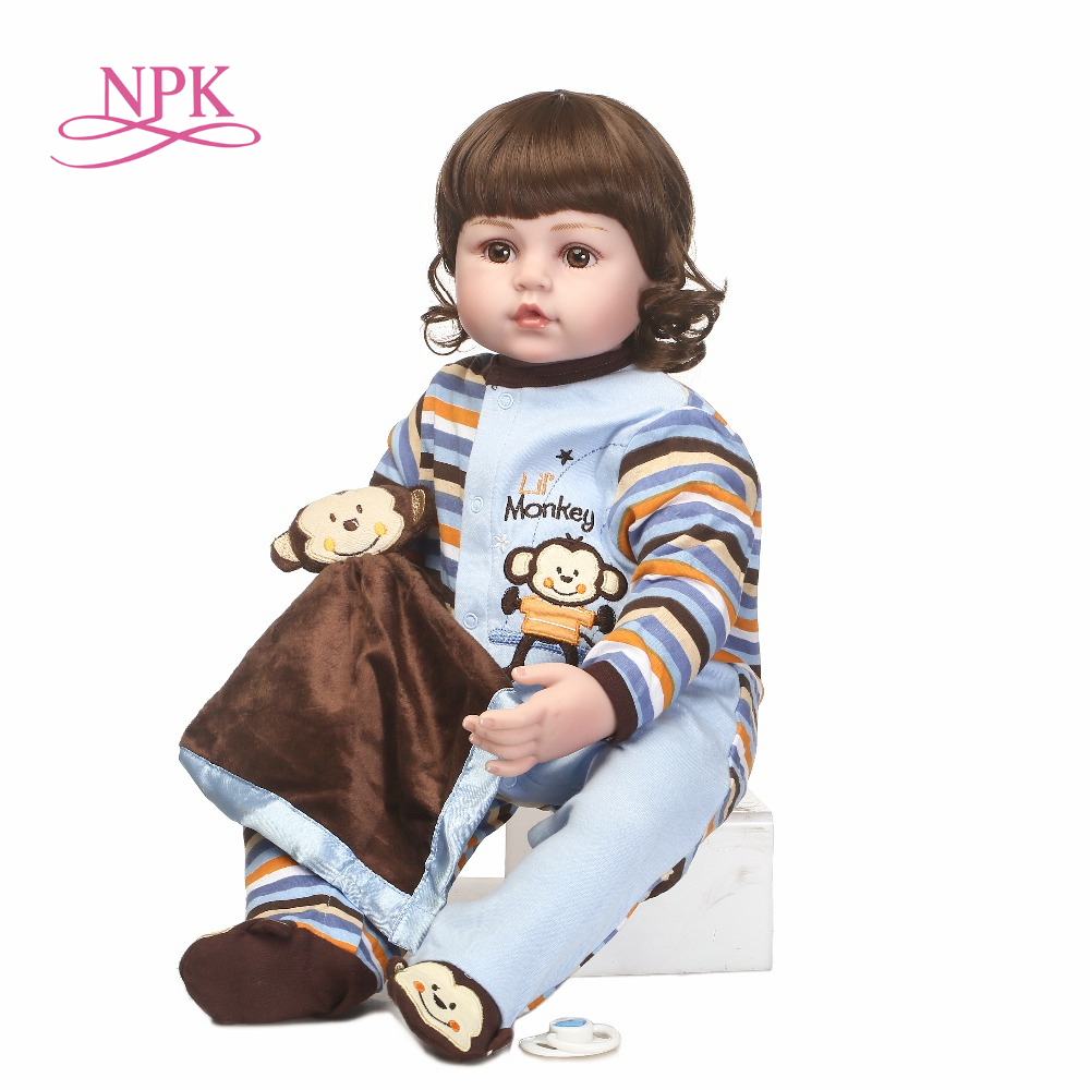 NPK lifelike reborn baby doll in cute Monkey clothes toys and gift for children on Birthday and Christmas