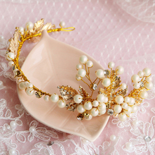 New Handmade Crystal Gold Leaves Headband Bridal Pearl Headpiece Wedding Accessories Party Hair Jewelry Headdress Hair Ornaments