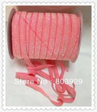 "Stretch Metallic Headband Ribbon  Watermelon Sparkle Ribbon   3/8""  Elastic Frosted Watermelon Glitter Velvet Ribbon"