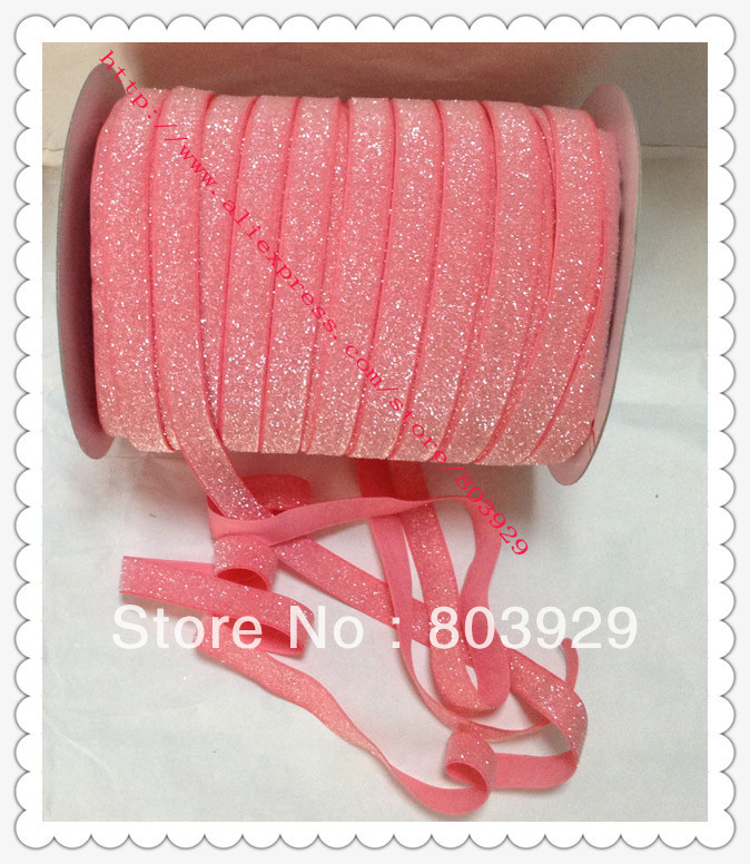 Stretch Metallic Headband Ribbon Watermelon Sparkle Ribbon 3 8 Elastic Frosted Watermelon Glitter Velvet Ribbon
