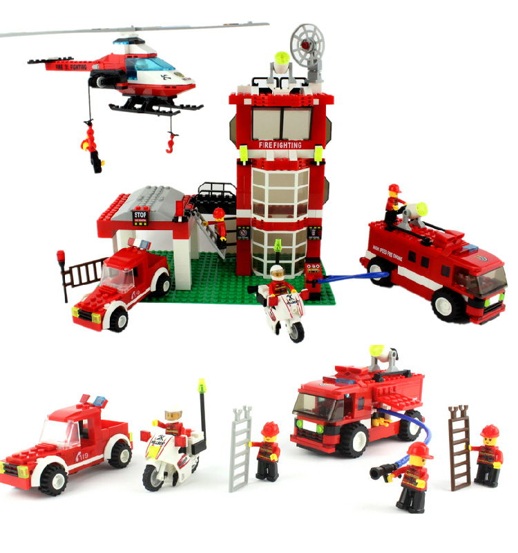 AIBOULLY 2017 New 638pcs City Fire Station Truck Helicopter Firefighter minis Building Blocks Bricks Toys DIY Free Shipping jie star fire ladder truck 3 kinds deformations city fire series building block toys for children diy assembled block toy 22024