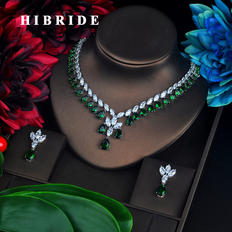 HIBRID Luxury Water Drop Shape Women Jewelry Sets Bridal Accessories Colorful Stone pendientes mujer Jewelry Set Wholesale N-647