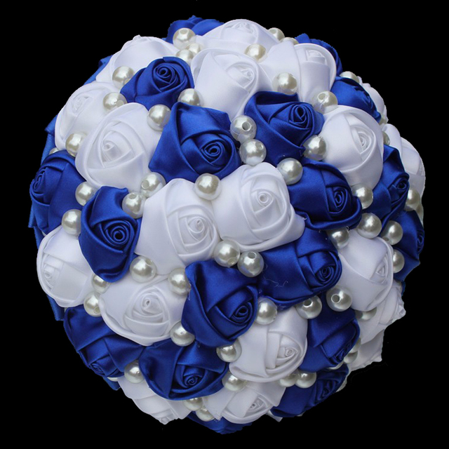 LOVSKYLINE White and Blue Artificial Wedding Bouquets Handmade ...