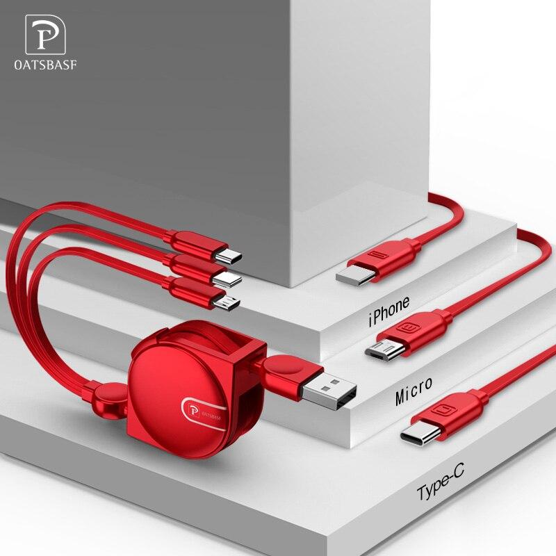 Oatsbasf USB Câble 3 dans 1 De Charge Pour iPhone X 6 s 6 7 8 plus Mobile Téléphone Câble Type C Micro Brack Rétractable Chargeur Câble