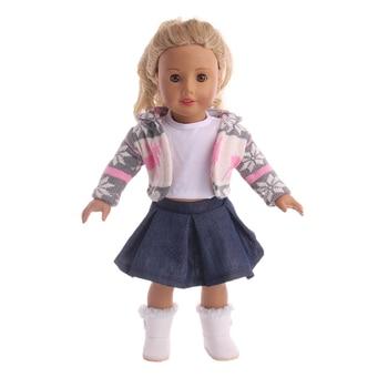 Ropa de la muñeca traje de invierno 3 piezas falda + capa + Camiseta ...