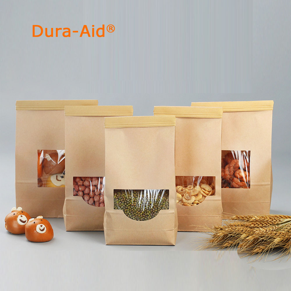 Dura-Aid Stand up zip lock kraft paper bag with clear window inside with PE kraft paper pouch 100pcs free shipping алиэкспресс сумка прозрачная