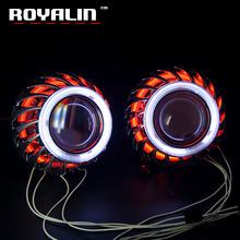 ФОТО royalin car styling for turbine mini projector lens shrouds headlight h1 angel eyes double ccfl halo rings white red blue yellow
