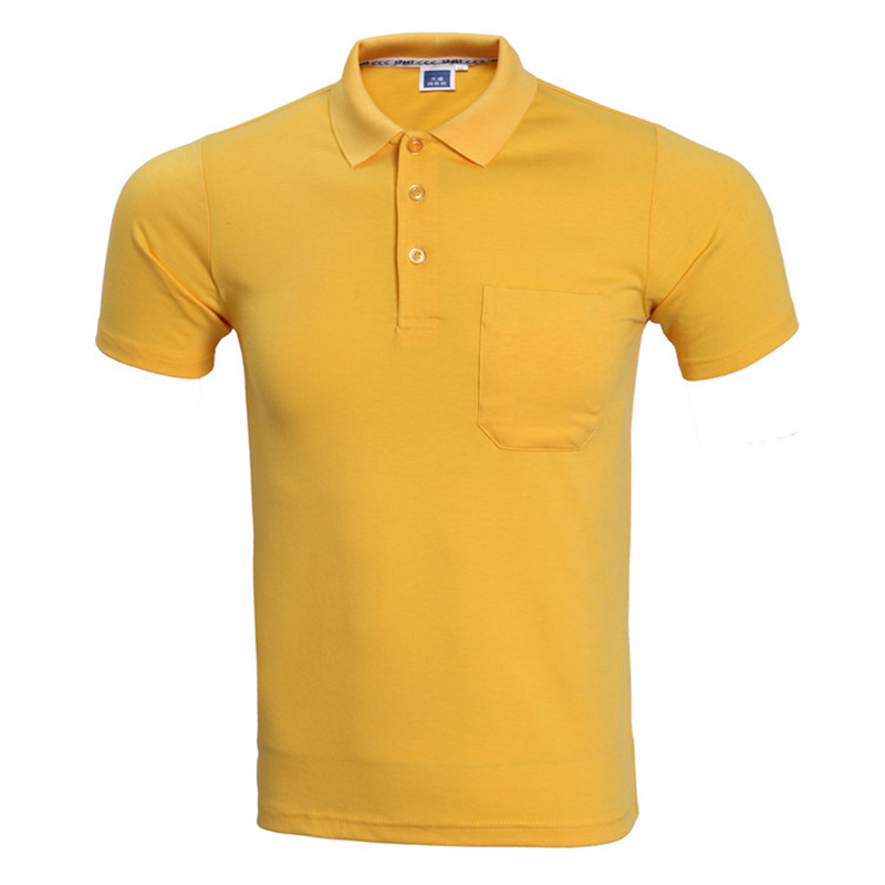 Fashoin   Polo   Homme 2017 Summer Brand Short Sleeve   Polo   Shirt Men Causal Slim Fit Solid Color Pocket Camisa   Polo   Men Yellow XXXL
