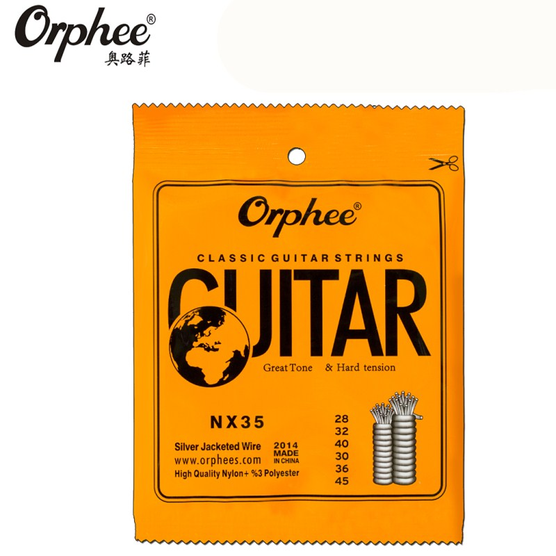 Orphee NX35 028-045 Classical Guitar Strings Nylon Silver Jacketed Wire Vacuum Packaging Guitar Parts