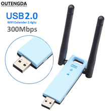 300Mbps USB WiFi Adapter Repeater 11N Wifi Signal Amplifier External Antenna Wireless Network Card for Desktop Laptop