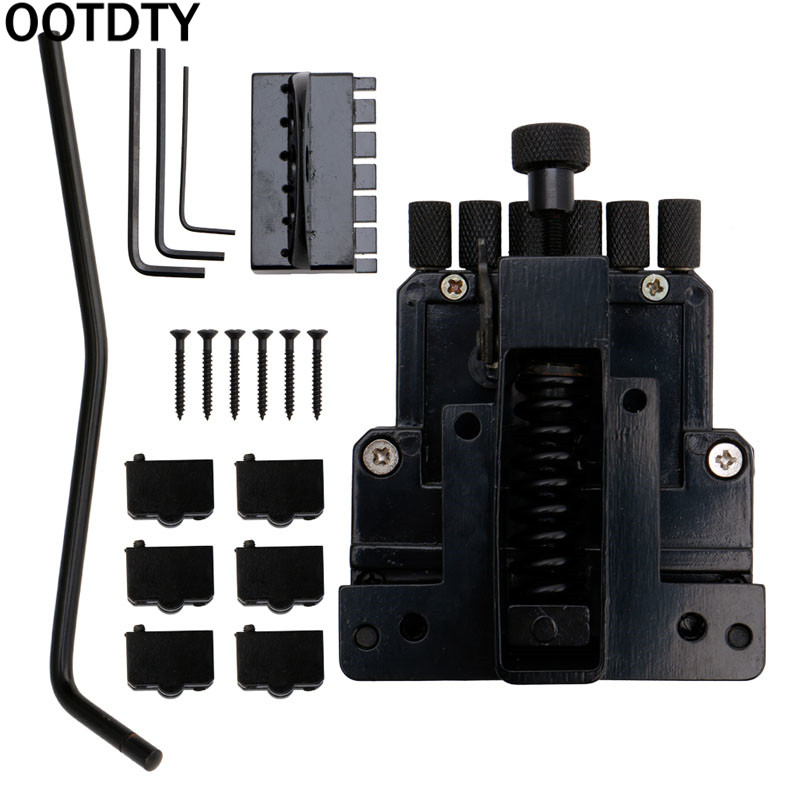OOTDTY Black 6 String Guitar Tailpiece Tremolo Bridge For Headless Guitar