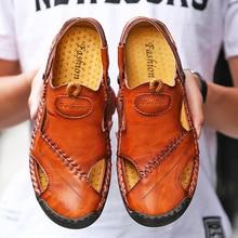 men shoes casual sandals big size slippers comfortable men summer genuine leather sandals mens shoes outdoor beach sandale homme все цены