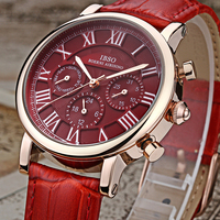 IBSO Brand Luxury Red Fashion Women Watches 2016 Week And Calendar Multifunction Watch Women Genuine Leather
